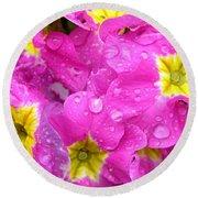 Raindrops On Pink Flowers 2 Round Beach Towel