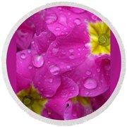 Raindrops On Pink Flowers Round Beach Towel by Carol Groenen