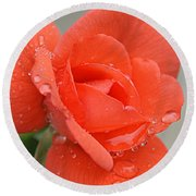 Raindrops On Roses Round Beach Towel