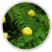 Raindrops On Yellow And Green Round Beach Towel