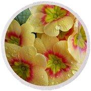 Raindrops On Yellow Flowers Round Beach Towel