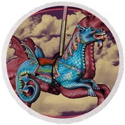 Rainey The Dragon-horse Round Beach Towel