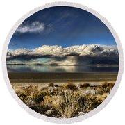Rainfall Over The Salt Lake Round Beach Towel