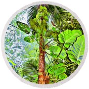Rainforest Green Round Beach Towel