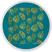 Rainforest Resort - Tropical Leaves Elephant's Ear Philodendron Banana Leaf Round Beach Towel
