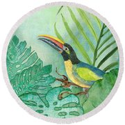 Rainforest Tropical - Tropical Toucan W Philodendron Elephant Ear And Palm Leaves Round Beach Towel