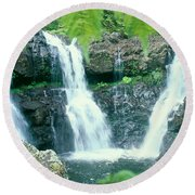Rainforest Waterfalls Round Beach Towel