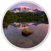 Rainier Dawn Breaking Round Beach Towel