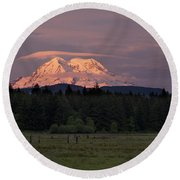 Rainier Dusk Round Beach Towel