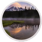 Rainier Lenticular Sunrise Round Beach Towel