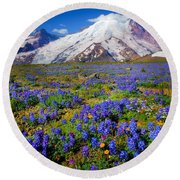 Rainier Lupines Round Beach Towel