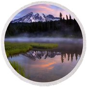 Rainier Sunrise Cap Round Beach Towel