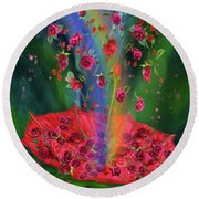 Raining Roses 2 Round Beach Towel