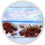 Rainy Beach Scene Round Beach Towel
