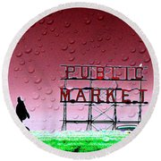Rainy Day At The Market Round Beach Towel
