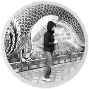 Rainy Day At The Wat Phra That Temple Round Beach Towel