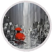 Rainy Day City Girl In Red Round Beach Towel