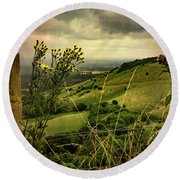 Rainy Day Hilltop View On The South Downs Round Beach Towel by Chris Lord