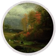Rainy Day In Autumn Round Beach Towel by Albert Bierstadt