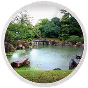 Rainy Day In Kyoto Palace Garden Round Beach Towel