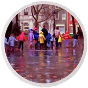 Rainy Day Rainbow - Children At Independence Square Round Beach Towel