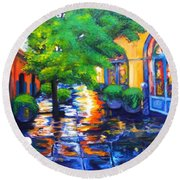 Rainy Dutch Alley Round Beach Towel