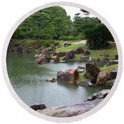 Rainy Japanese Garden Pond Round Beach Towel