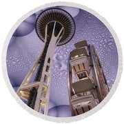 Rainy Needle Round Beach Towel