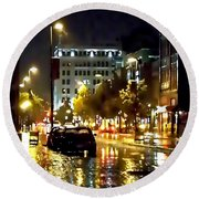 Rainy Night In Green Bay Round Beach Towel