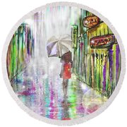 Rainy Paris Day Round Beach Towel by Darren Cannell