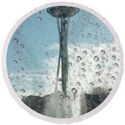 Rainy Window Needle Round Beach Towel