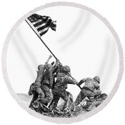 Raising The Flag Round Beach Towel