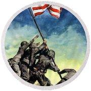 Raising The Flag On Iwo Jima Round Beach Towel