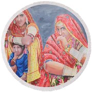 Rajasthani Ladies With Traditional Jewelry Round Beach Towel