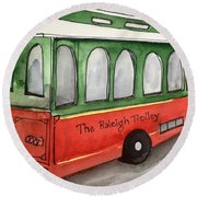 Raleigh Trolley Round Beach Towel