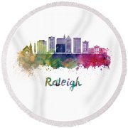 Raleigh V2 Skyline In Watercolor Round Beach Towel