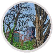 Raleigh - View From Chavis Park Round Beach Towel