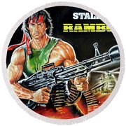 Rambo 2 Sylvester Stallone Paintinf Round Beach Towel