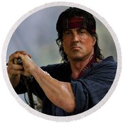 Rambo Sylvester Stallone Round Beach Towel