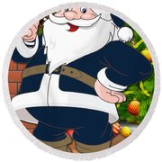 Rams Santa Claus Round Beach Towel
