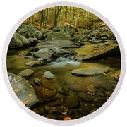 Ramsey Cascades Trailhead Round Beach Towel