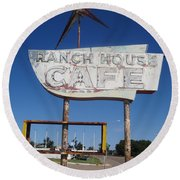 Ranch House Cafe Round Beach Towel