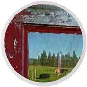 Ranch Reflection Round Beach Towel