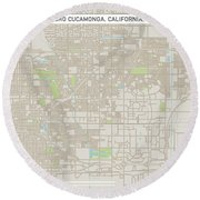 Rancho Cucamonga California Us City Street Map Round Beach Towel