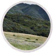 Rancho Sierra Vista Satwiwa Mountains Portrait Round Beach Towel
