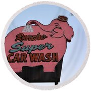 Rancho Super Car Wash  Round Beach Towel