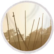 Random Masts Round Beach Towel