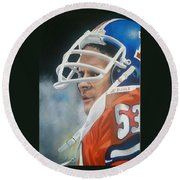 Randy Gradishar Round Beach Towel by Don Medina