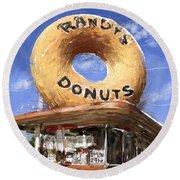 Randy's Donuts Round Beach Towel