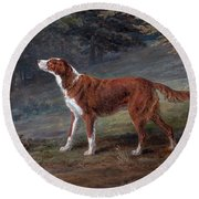 Ranger A Setter The Property Of Elizabeth Gray Round Beach Towel